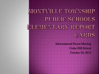 Montville Township Public Schools Elementary Report Cards