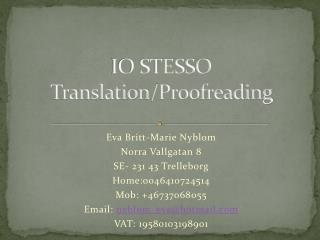 IO STESSO Translation / Proofreading