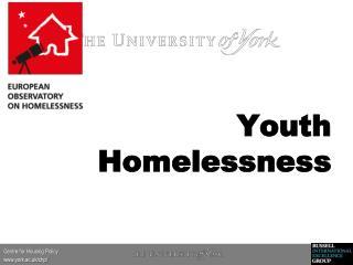 Youth Homelessness  Homelessness