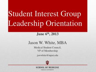 Student Interest Group Leadership Orientation