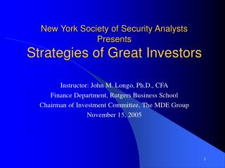 new york society of security analysts presents strategies of great investors