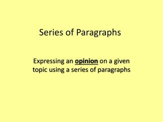Series of Paragraphs