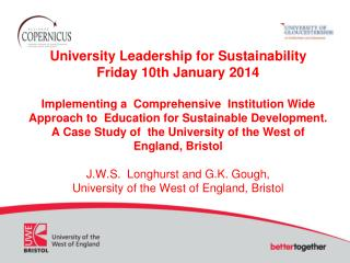A Comprehensive Institution  Wide Approach to  Education for Sustainable Development