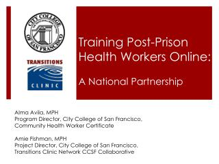 Training Post-Prison Health Workers Online: A National Partnership