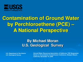 contamination of ground water by perchloroethene pce    a national perspective