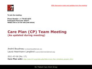 Care Plan (CP) Team Meeting (As updated during meeting)