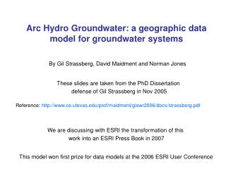 arc hydro groundwater: a geographic data model for groundwater systems
