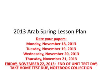 2013 Arab Spring Lesson Plan