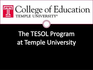 The TESOL Program at Temple University