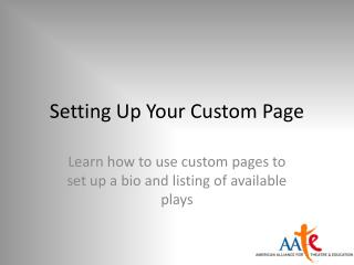 Setting Up Your Custom Page