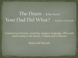 The Drum �  John Scott  Your Dad Did What? �  Sophie Hannah
