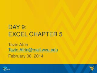 Day 9: Excel Chapter 5
