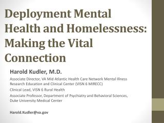 Deployment Mental Health and Homelessness: Making the Vital Connection