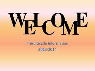 Third Grade Information 2013-2014