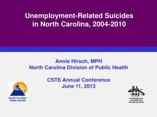 Unemployment-Related Suicides  in North Carolina, 2004-2010