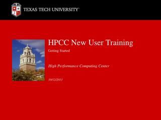 HPCC New User Training Getting Started