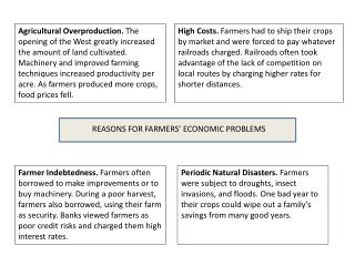 REASONS FOR FARMERS� ECONOMIC PROBLEMS
