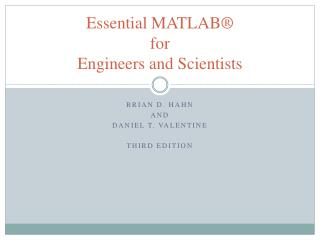 Essential MATLAB® for Engineers and Scientists