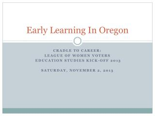 Early Learning In Oregon