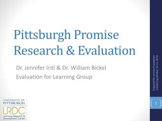 Pittsburgh Promise  Research & Evaluation