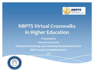 NBPTS Virtual Crosswalks  in Higher Education