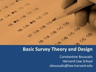 Basic Survey Theory and Design