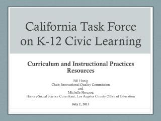 California Task Force on K-12 Civic Learning