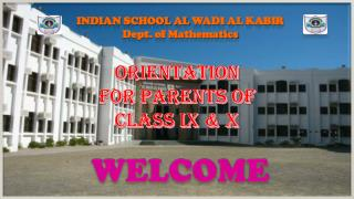 Indian School Al  Wadi  Al  Kabir Dept. of Mathematics