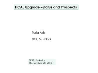 HCAL Upgrade –Status and Prospects