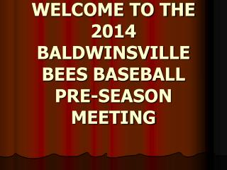 WELCOME TO THE  2014  BALDWINSVILLE BEES BASEBALL PRE-SEASON  MEETING