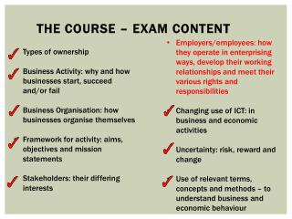 The course – Exam content