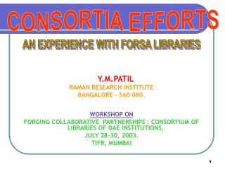 Consortia efforts : an experience with FORSA libraries
