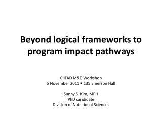 Beyond logical frameworks to program impact pathways