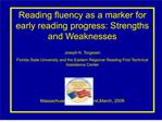 reading fluency as a marker for early reading progress: strengths ...