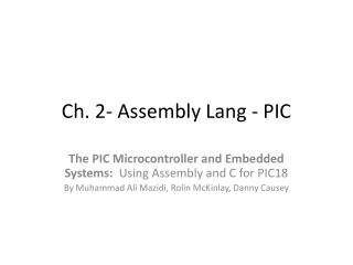 Ch. 2- Assembly Lang - PIC