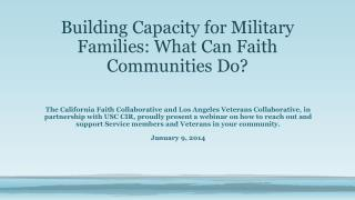 Building Capacity for Military Families: What Can Faith Communities Do?