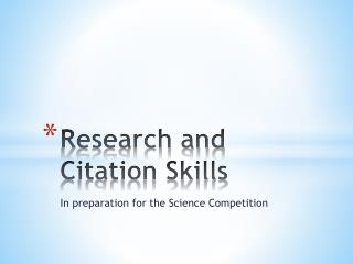 Research and Citation Skills