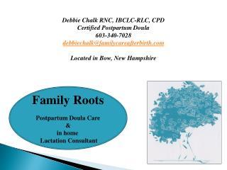 Debbie Chalk RNC, IBCLC-RLC, CPD Certified Postpartum Doula 603-340-7028 debbiechalk@familycareafterbirth.com Located i
