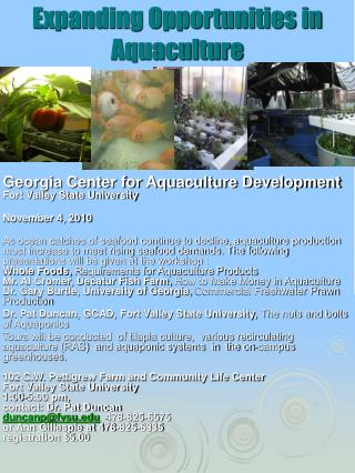 expanding opportunities in aquaculture