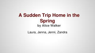 A Sudden Trip Home in the Spring by Alice Walker