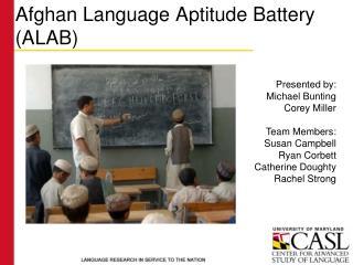 afghan language aptitude battery alab