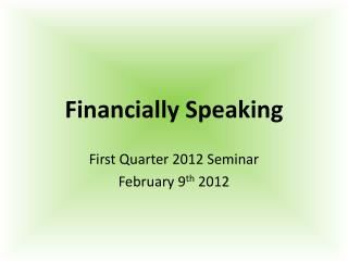 Financially Speaking