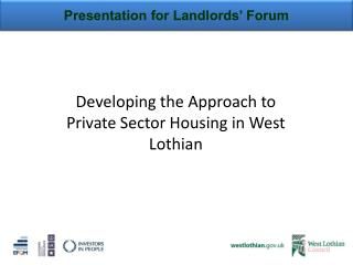Presentation for Landlords' Forum