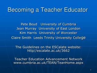 Becoming a Teacher Educator