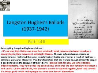 Langston Hughes's Ballads (1937-1942)
