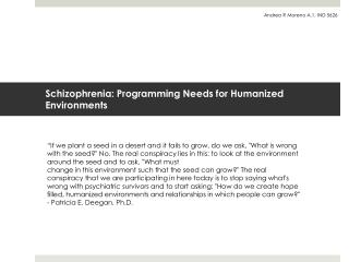 Schizophrenia: Programming Needs for Humanized Environments