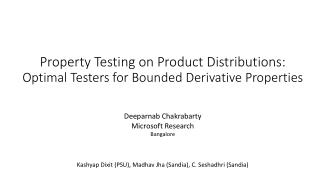 Property Testing on Product Distributions: Optimal Testers for Bounded Derivative Properties