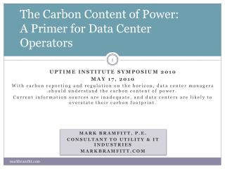 The Carbon Content of Power: A Primer for Data Center Operators