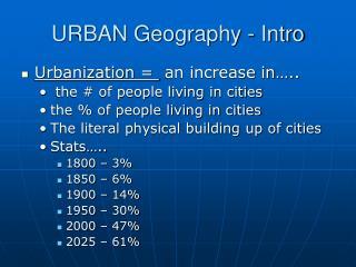 URBAN Geography - Intro