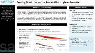 Creating Flow in the yard for Foodstuff Inc. Logistics Operation